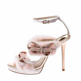 Sophia Webster Pink Faux Fur And Leather Bella Bow Embellished Ankle Strap Sandals Size 39 207060