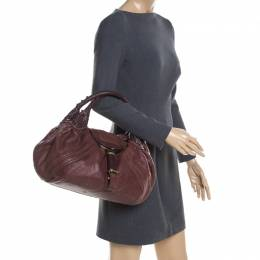 Fendi Brown Pebbled Leather Spy Bag 200784