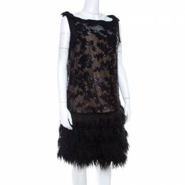 Tadashi Shoji Black Sequined Drop Waist Feather Dress L 207223