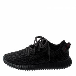 Yeezy x Adidas Black/Grey Cotton Knit Boost 350 Sneakers Size 39.5 200820