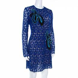 Mary Katrantzou Cobalt Blue Paisley Macrame Lace Overlay Geri Shift Dress M 207095