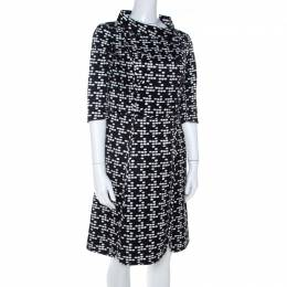 CH Carolina Herrera Black and White Printed Silk Blend Portrait Collar Dress M 207152