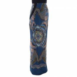 Etro Blue Abstract Print Silk Maxi Skirt M 207085