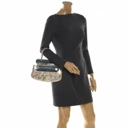 Fendi Silver Shimmering Leather Disco To You Clutch 206440