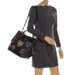 Dior Black Leather Diorific Patch Bucket Bag 200616