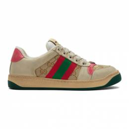Gucci White and Pink GG Screener Sneakers 570443 9Y920