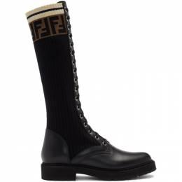 Fendi Black Tall Rockoko Combat Boots 8W6779 A3H4