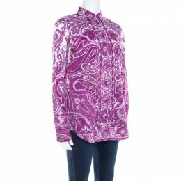 Etro Purple Paisley Print Cotton Stretch Button Front Shirt M 207850