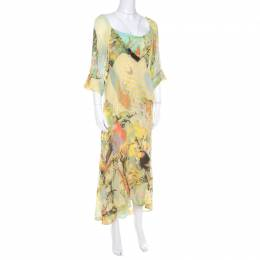 Roberto Cavalli Yellow Abstract Print Draped Neck Maxi Dress XL 207813