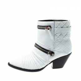Giuseppe Zanotti Design White Quilted Leather Ankle Boots Size 38.5 207927