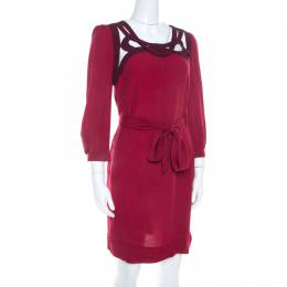 Diane Von Furstenberg Burgundy Crepe Cut Out Neck Detail Belted Jadey Dress S 207803