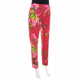 Blumarine Red Floral Print Cotton Straight Fit Trousers M 207806