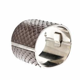Celine Grey Python Leather Silver Tone Wide Cuff Bracelet 208013