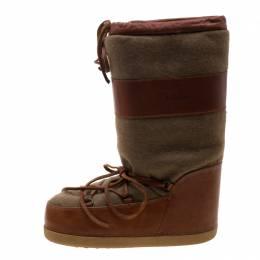 Chloe Brown Leather And Wool Fabric Moon Boots Size 38 208076