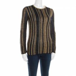 M Missoni Multicolor Striped Chunky Lurex Knit Crew Neck Sweater S 195884
