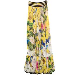 Roberto Cavalli Yellow Wonderland Printed Silk Flounce Bottom Maxi Skirt S 155904