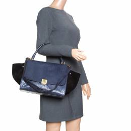Celine Blue/Black Python and Suede Medium Trapeze Bag 162618