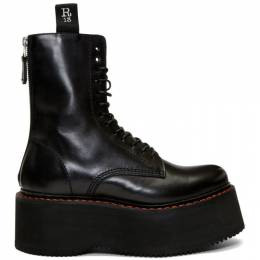 R13 Black Double Stacked Platform Lace-Up Boots R13S0003-018