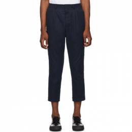 Ami Alexandre Mattiussi Navy Pleated Trousers A19T402.406