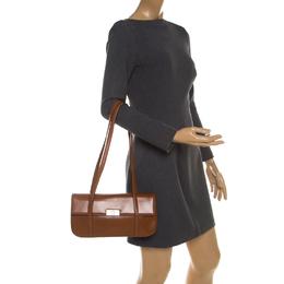 Aigner Brown Leather Flap Shoulder Bag 207680