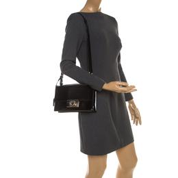 Salvatore Ferragamo Black Patent Leather Aileen Top Handle Bag 207769