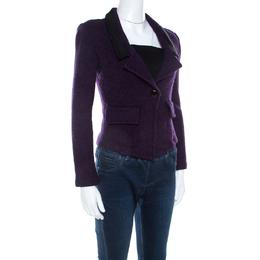 St. John Purple Tweed Boucle Cropped Blazer S