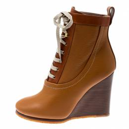 Chloe Brown Leather Lace Up Wedge Ankle Boots Size 38.5 208061