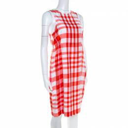 Stella McCartney Chilli Red Checked Sleeveless Benedicte Shift Dress S 208065