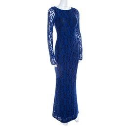 Alice + Olivia Cobalt Blue Lace Long Sleeve Flared Maryanna Maxi Dress XS 208073