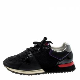 Louis Vuitton Black Perforated Suede And Patent Leather Aftergame Lace Up Sneakers Size 40 207840