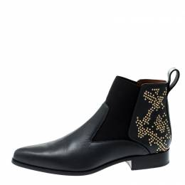 Chloe Black Leather Studded Ankle Boots Size 40 208421