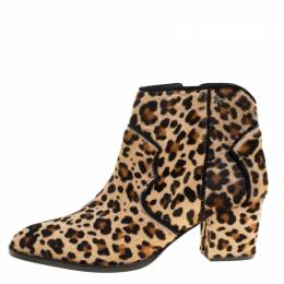 Zadig & Voltaire Brown Leopard Print Calf Hair Molly Leo Cowboy Boots Size 41