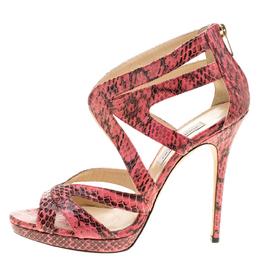 Jimmy Choo Pink Python Collar Platform Sandals Size 41 137729