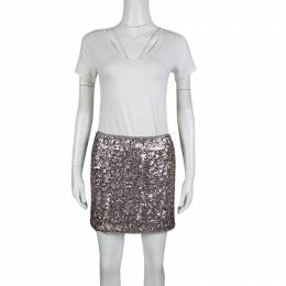 Zadig & Voltaire Grey and Pink Sequined Jasmi Pai Deluxe Jupe Mini Skirt S 139535