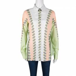 Etro Colorblock Printed Cotton Long Sleeve Button Front Shirt S 134400