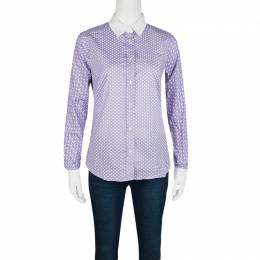 Etro Purple Printed Cotton Contrast Cuff and Collar Long Sleeve Shirt S 125055