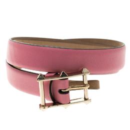 Valentino Pink Leather Rockstud Buckle Belt 70cm 119112