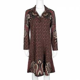 Etro Multicolor Printed Wool Crepe Long Sleeve Flared Bottom Dress M 121337