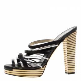 Fendi Tricolor Leather And Satin Stripes Strappy Platform Sandals Size 39 208430