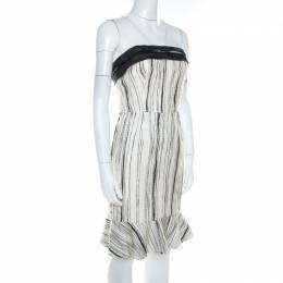 Carolina Herrera Monochrome Irregular Striped Silk Strapless Flounce Dress S 204862