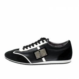 Dolce&Gabbana Monochrome Suede And Leather Logo Plaque Sneakers Size 43 207711