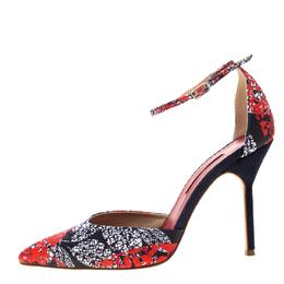 Carolina Herrera Blue Floral Printed Satin Pointed Toe Ankle Strap Sandals Size 38 208779