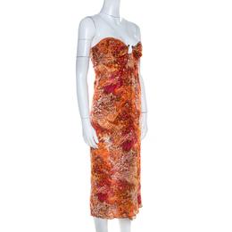 Celine Orange Abstract Print Sheer Silk Pleated Strapless Bodice Maxi Dress S