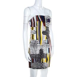 Diane Von Furstenberg Multicolor Optic Plaid Print Maria Strapless Mini Dress S 205309