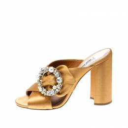 Miu Miu Yellow Satin Crystal And Faux Pearl Embellished Brooch Peep Toe Mules Size 38 208486