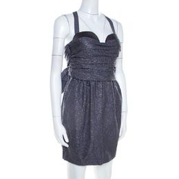Proenza Schouler Slate Grey Lurex Insert Silk and Wool Draped Front Bustier Dress S 204561
