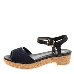 Fendi Blue Denim And Black Lizard Embossed Leather Cork Platform Ankle Strap Sandals Size 38 208471