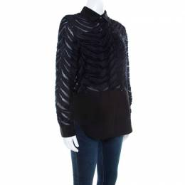 3.1 Phillip Lim Black and Navy Blue Sheer Fil Coupe Stripe Shirt XS 206117