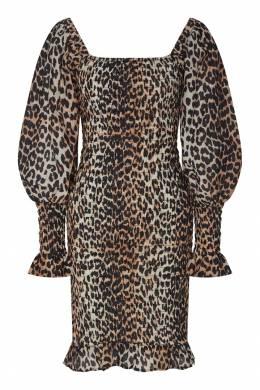 Коричневое платье из хлопка и шелка Ganni 2979139903