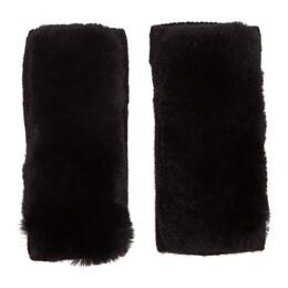 Yves Salomon Black Rex Rabbit Fur and Cashmere Gloves 20W20WAA515XXCARD